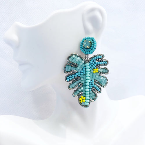 Sugar Beaded Palm Leaf Earrings Turquoise