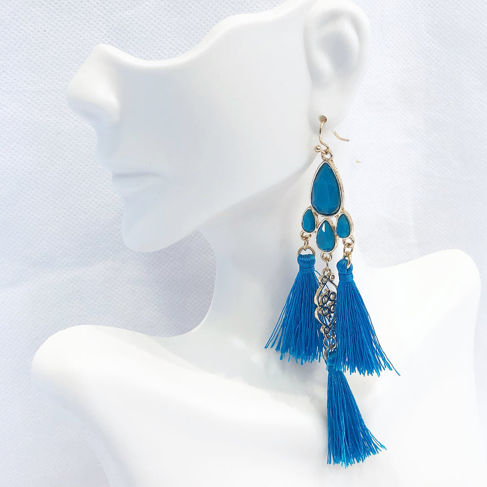 Triple Tassel Earrings Blue