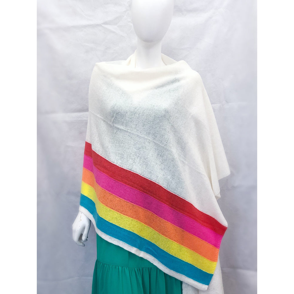 Brodie Sunset Travel Wrap White/Rainbow Stripe
