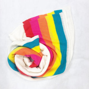 Load image into Gallery viewer, Brodie Sunset Travel Wrap White/Rainbow Stripe