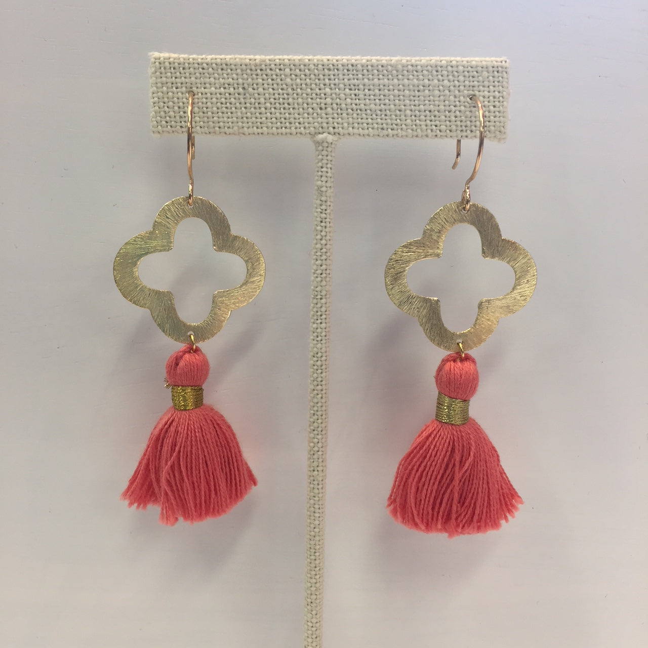 Sugar Lulu Quatrefoil Tassel Drop Earrings Coral