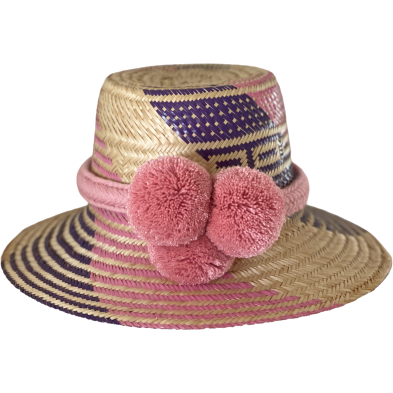 Hello Dobson Palm Beach Hat (Purple/Pink) with Poms