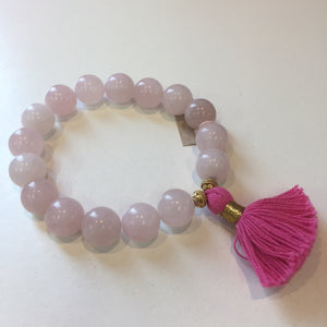 Load image into Gallery viewer, MVF Rose Quartz Bracelet Pink Tassel
