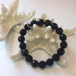 MVF Large Faceted Gem Bracelet Onyx