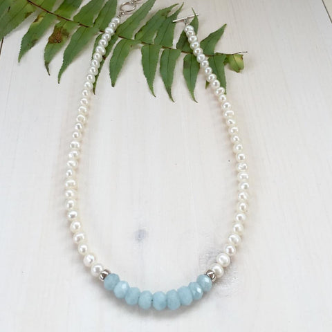 MVF Short Pearl Necklace with Blue Stones