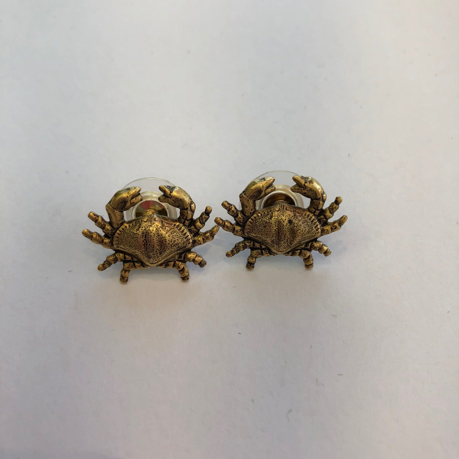 Stud Earrings Gold Crab