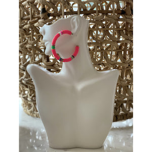 Load image into Gallery viewer, Rubber Disc Bead Hoop Earrings Hot Pink