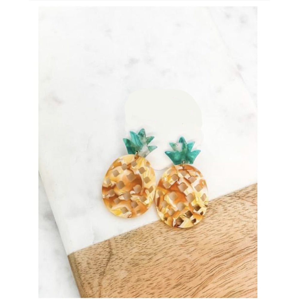 Tropical Pineapple Dangle Earrings