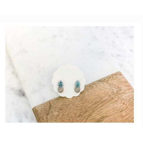 Semi-Precious Pineapple Stud Earrings Silver/Turquoise
