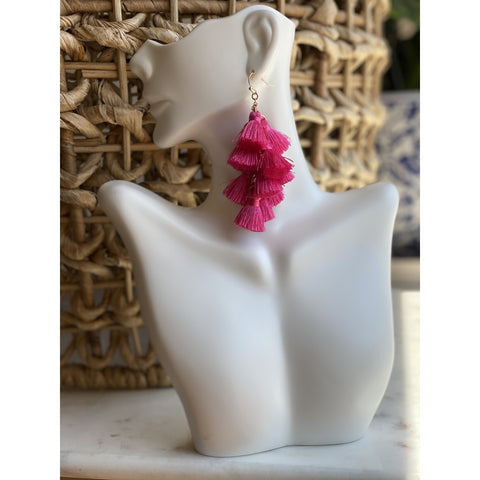 Tassel Dangle Earrings Fuchsia