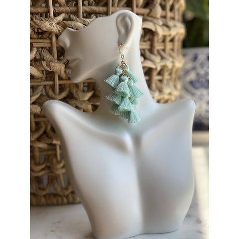 Tassel Dangle Earrings Mint