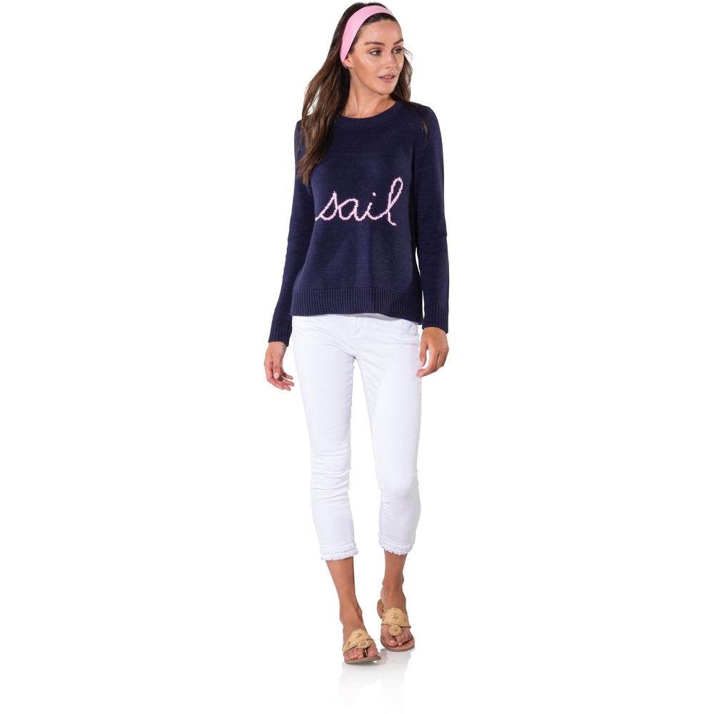 Load image into Gallery viewer, Sail To Sable Long Sleeve Navy Sweater Pink Sail