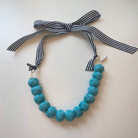 Rope Pom Necklace Turquoise