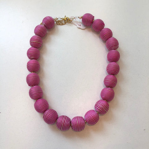 Striped Pom Necklace Pink