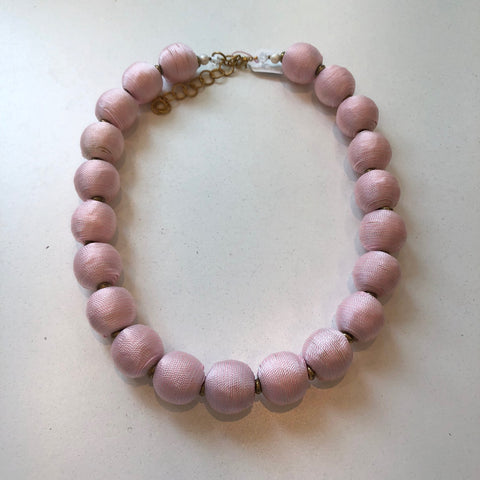 Striped Pom Necklace Light Pink