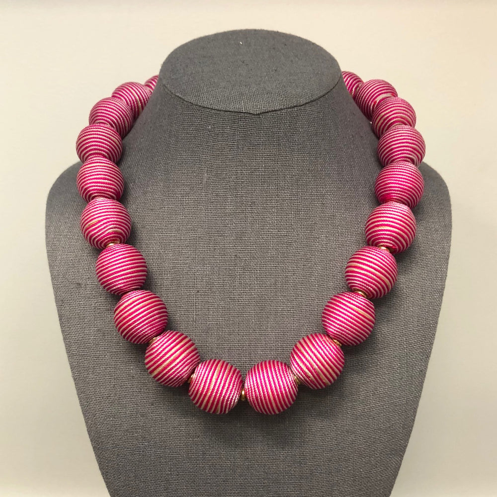 Load image into Gallery viewer, Striped Pom Necklace Pink