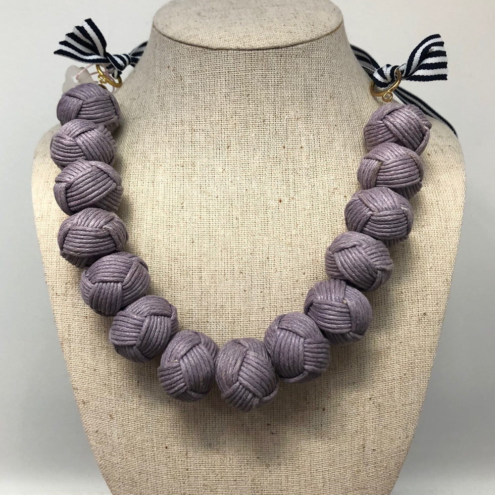 Load image into Gallery viewer, Rope Pom Necklace Purple