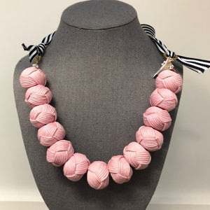 Rope Pom Necklace Light Pink