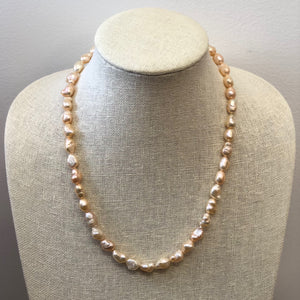 MVF Single Strand Baroque Pearl Necklace Peach/Gold