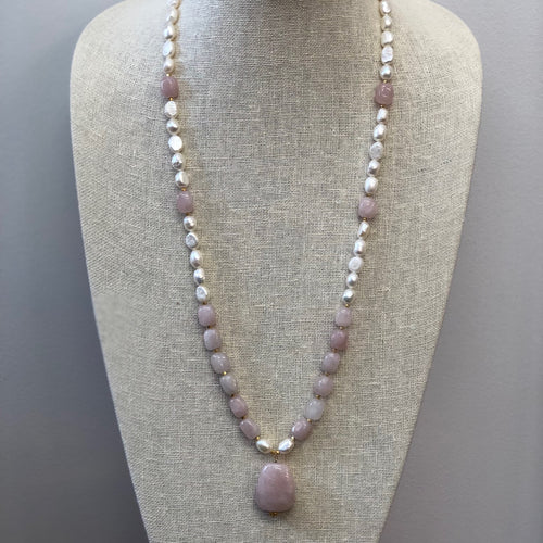 MVF Long Rose Quartz/Pearl Necklace