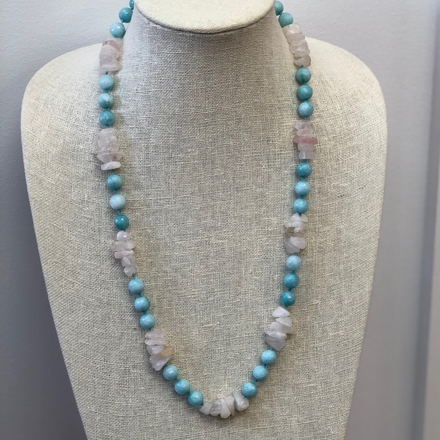 MVF Long Knotted Rose & Aqua Quartz Necklace