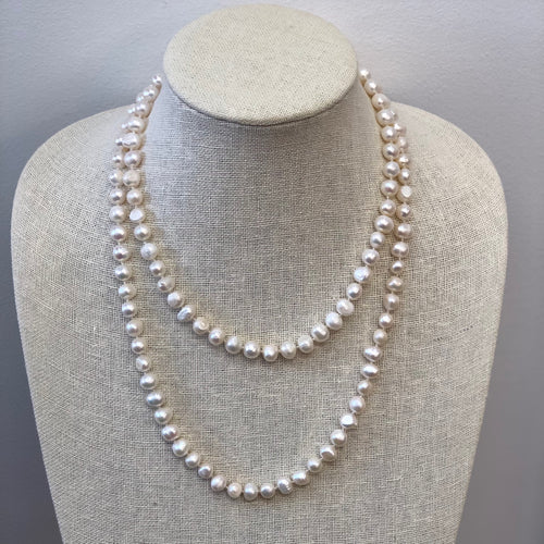 MVF Single Strand Long Knotted Pearl Necklace White