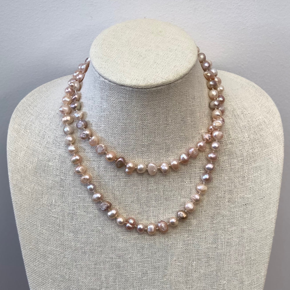 MVF Single Strand Long Knotted Pearl Necklace Pale Pink/Sterling