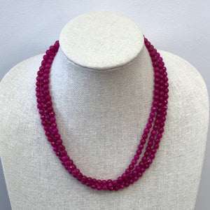 MVF Layered Hot Pink Faceted Agate Necklace
