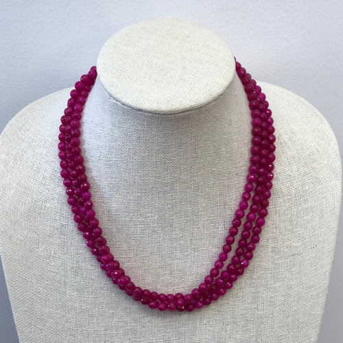 MVF Three Strand Faceted Agate Necklace Fuscia