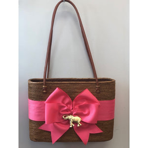 Load image into Gallery viewer, Lisi Lech Large Charlotte Tote Hot Pink Bow Elephant