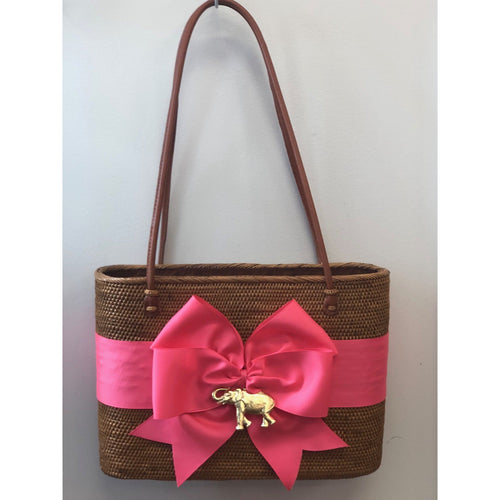 Lisi Lech Large Charlotte Tote Hot Pink Bow Elephant