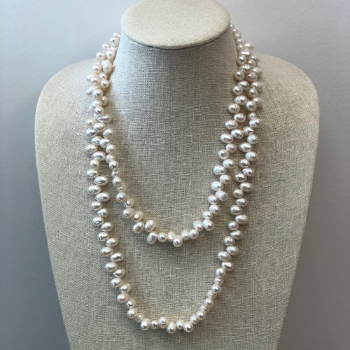 MVF Long Freshwater Pearl Necklace Jagged Pearls