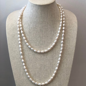 MVF Long Freshwater Pearl Necklace White