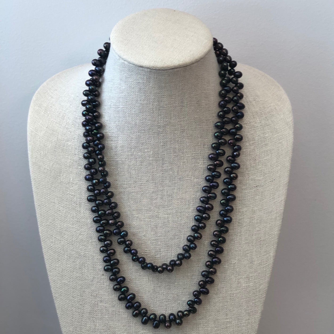 MVF Long Freshwater Pearl Necklace Jagged Pearls Black