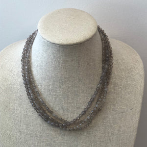 MVF Layered Gemstone Necklace Gray Agate