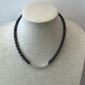 MVF Short Black Pearl Necklace with Moonstone