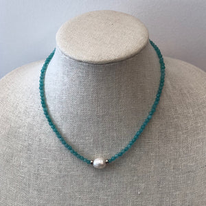 MVF Short Pearl Pendant Necklace Aqua