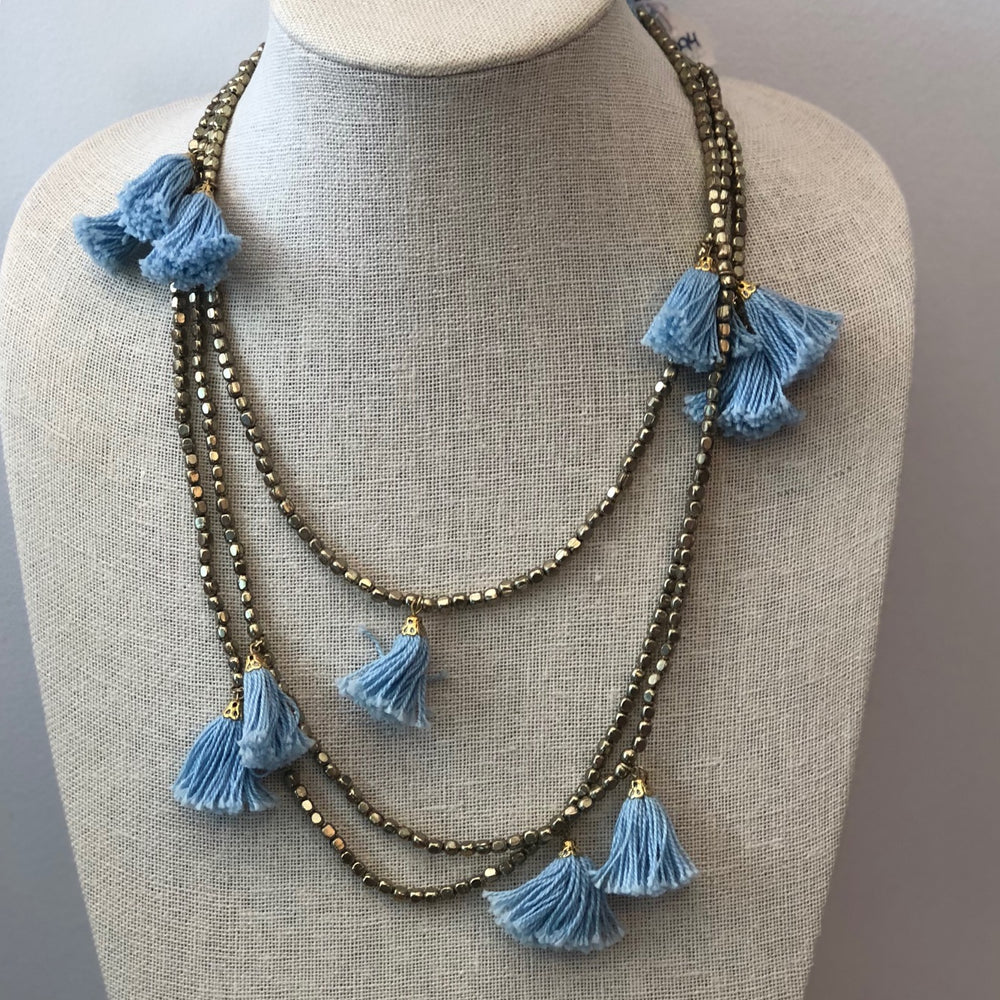 Gold Tassel Necklace Blue Tassel