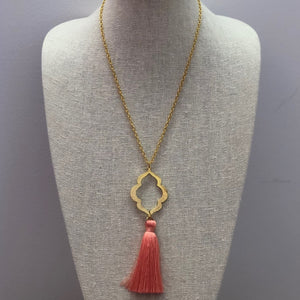 MVF Long Pendant Tassel Necklace Coral