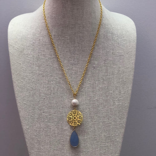 MVF Long Gold Necklace Pearl / Blue Chalcedony