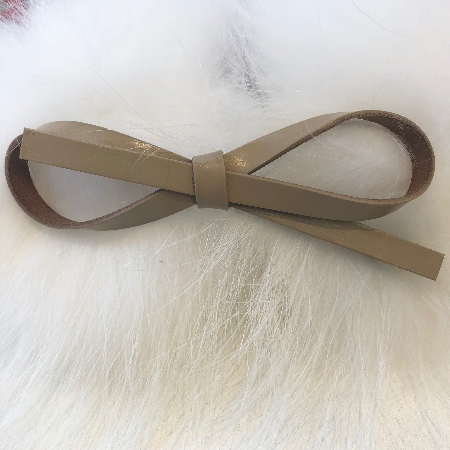 Leather Style Hair Bow Clip Taupe
