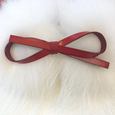 Leather Style Hair Bow Clip Red