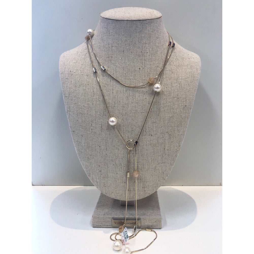 Load image into Gallery viewer, Gold Pearl Lariat Necklace