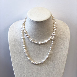 MVF Long Freshwater Pearl Necklace Coin Pearls White