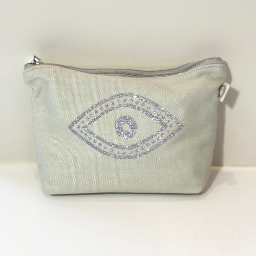 Quilted Koala Makeup Bag Silver Glitter Eye/Seagrass Green