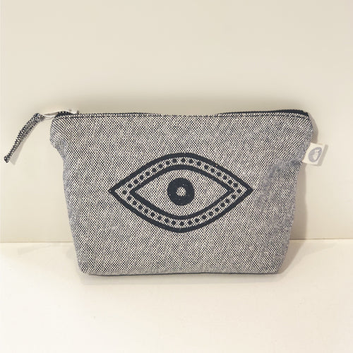 Quilted Koala Makeup Bag Black Glitter Eye/Midnight Metallic