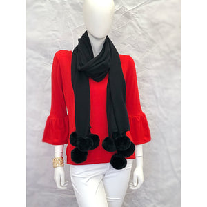 Load image into Gallery viewer, Cortland Park 	Pom Scarf Black/Black