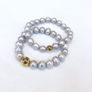 Load image into Gallery viewer, MVF Pearl Stretch Bracelet Gold Bead Silver