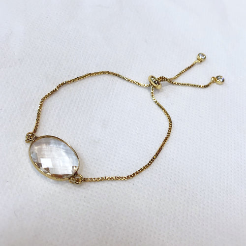MVF Adjustable Gold Bracelet Clear Gem