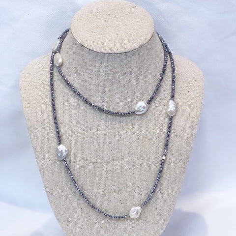 MVF Long Metallic Crystal and Pearl Wrap Silver